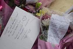 © Licensed to London News Pictures . Blackpool , UK . 04/02/2013 . Tributes and flowers from Sasha Marsden's parents and grandparents outside the Grafton House Hotel , Kirby Road , Blackpool today (4th February 2013) where Sasha Marsden was found murdered , as David Minto is due before Magistrates , charged with the murder of the 16 year old this morning (4th February 2013) . Photo credit : LNP