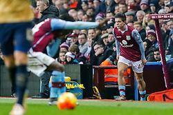 Jack Grealish of Aston Villa is readied to be brought on from the subs bench - Mandatory byline: Rogan Thomson/JMP - 13/12/2015 - FOOTBALL - Villa Park Stadium - Birmingham, England - Aston Villa v Arsenal - Barclays Premier League.