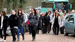 ©London News pictures. 22/03/11.  Buses were used to bring the 100's of volunteers to the remote woods. Locals and friends of Sian O'Callaghan help Police in the search in Savernake Wood, Wiltshire, today. Detectives continue investigating the disappearance of office administrator Sian O'Callaghan. The 22-year-old disappeared after leaving Suju nightclub in Swindon at about 2.50am on Saturday to walk the half-mile home to the flat she shared with her boyfriend Kevin Reape. Picture Credit should read Stephen Simpson/LNP