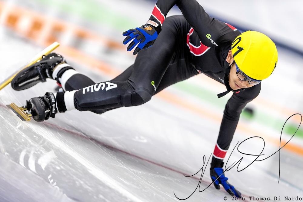December 17, 2016 - Kearns, UT - Jon Ricardo Aquino skates during US Speedskating Short Track Junior Nationals and Winter Challenge Short Track Speed Skating competition at the Utah Olympic Oval.