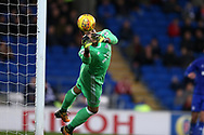 Cardiff city goalkeeper Neil Etheridge makes a save to deny Ipswich a late goal.  EFL Skybet championship match, Cardiff city v Ipswich Town at the Cardiff city stadium in Cardiff, South Wales on Tuesday 31st October 2017.<br /> pic by Andrew Orchard, Andrew Orchard sports photography.