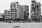 Trumpeldor Beach and street, Tel Aviv, Israel in black and white