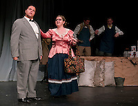 Quincy Morris as Horace Vandergelder and Kate Persson as Dolly Levi during dress rehearsal for Hello Dolly at Laconia High School on Monday afternoon.  (Karen Bobotas/for the Laconia Daily Sun)