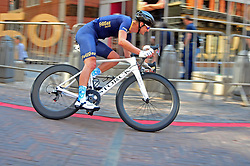 JOHANNESBURG, SOUTH AFRICA – AUGUST 13: Richard Baxter accelerates into a corner during the Helivac Melrose Arch Criterium race on 13 August 2017 in Johannesburg, South Africa. Cyclists competed in a criterium race hosted at the popular Merose Arch, criterium racing takes place on short course within a closed circuit. The racing is hotly contested over a number of laps as riders jostle for posistion. (Photo by Dino Lloyd)