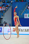 Uchida Katherine during qualifying at hoop in Pesaro World Cup 01 April 2016. Katherine is a canadian individual rhythmic gymnast, was born in Markham, 1999.