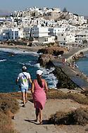 Greece, Cyclades,Naxos island: View on Naxos town from the Portara. Temple of Apollo