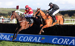 Patricks Park ridden by Paul Townend (left) jumps the last ahead of Blast Of Koeman ridden by Phillip Enright to win the Guinness Handicap Chase during day two of the Punchestown Festival 2018 at Punchestown Racecourse, County Kildare.