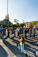 Teenagers in a band perform in the Plaza de Armas (square) in the historic Center of Guadalajara, Jalisco, Mexico