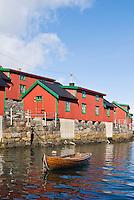 Red Rorbu cabins along water front in Stamsund, Lofoten islands, Norway