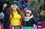 A Brazil fan and her young daughter during the Friendly International match between Brazil and Uruguay at the Emirates Stadium, London, England on 16 November 2018.