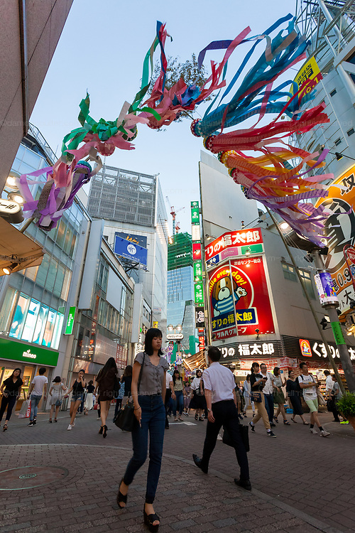 Tanabata decorations in Center Gai in Shibuya, Tokyo, Japan Friday July 20th 2018 Tanabata or the Star Festival took place on July 17th in Tokyo. Traditionally people use the festival to write wishes an hang them on bamboo sprigs as a wish tree.
