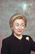 First lady Hillary Clinton appears surprised during an event at the White House January 11, 1999 in Washington, DC.