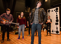 """Daniel Kehr rehearses a scene from """"A Fever Dream of Creativity"""" a student run improve and sketch show with Dan Pinkham-Breslin, Christina Dutton, Cameron Doyle and Taylor Nute of the Players Comedy Club at Winnisquam Regional High School Wednesday afternoon.    (Karen Bobotas/for the Laconia Daily Sun)"""