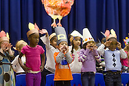 """Middletown, New York - Preschool students perform in """"YMCA Thanksgiving Day Spectacular"""" on the stage of the Center for Youth Programs on Nov. 27, 2013."""