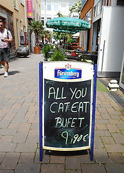 Germany, Freiburg - June 14, 2018.All You Can Eat buffet sign / Wrong english language (Credit Image: © Antonio Pisacreta/Ropi via ZUMA Press)