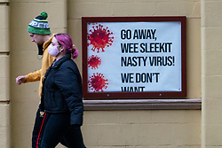 Glasgow, Scotland, UK. 1 November 2020. The Scottish Government today announced that from Friday 20 November, the most severe level 4 lockdown will be introduced in eleven Scottish council areas. This means non essential shops will close and bars, restaurants and cafes. Pictured;  Poster outside Pavilion Theatre.  Iain Masterton/Alamy Live News