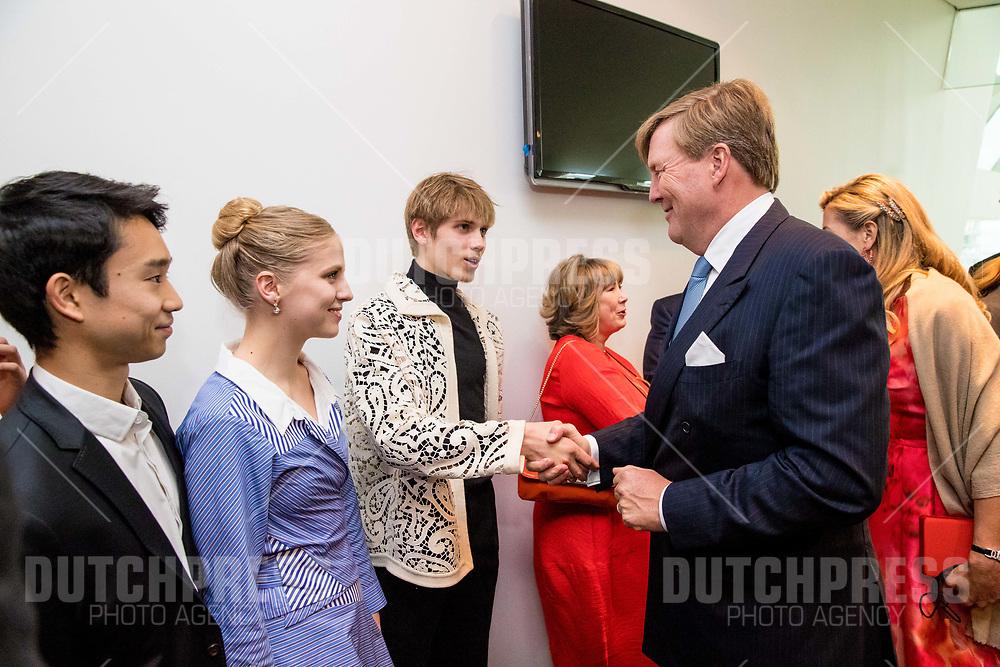 Koning Willem-Alexander en koningin Maxima tijdens de Contraprestatie in het Bord Gais Energy Theatre in Dublin, op dag 2 van het 3-daags staatsbezoek van het Nederlands Koningspaar aan Ierland.