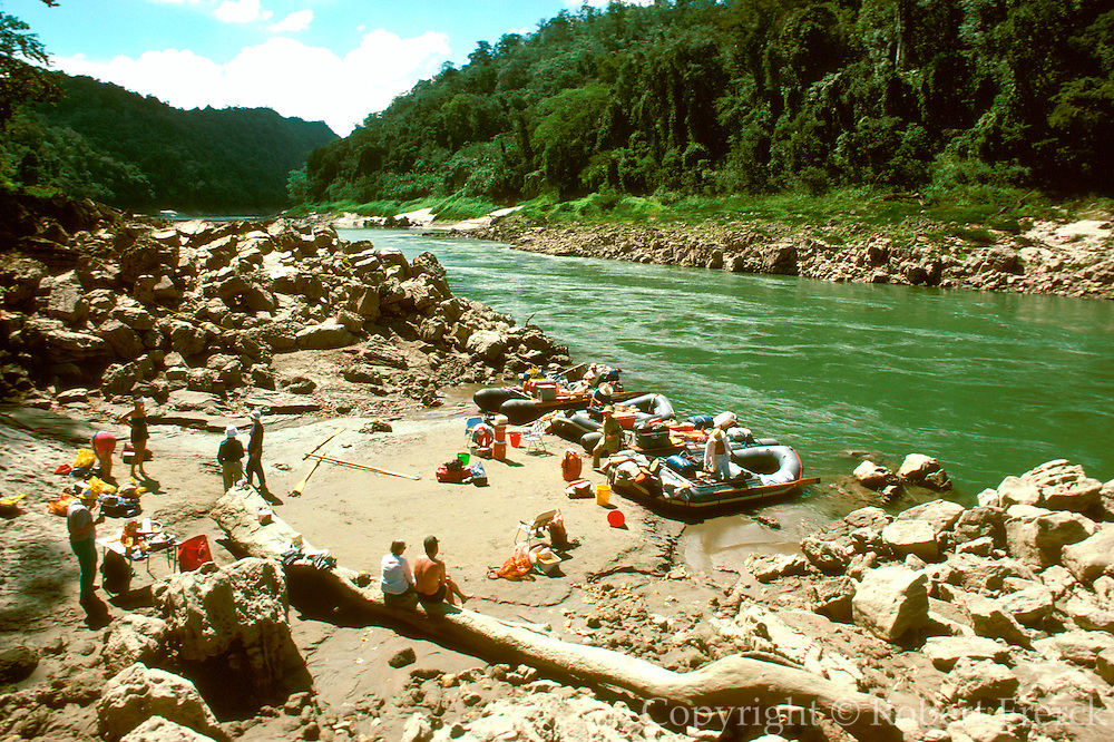 MEXICO, CHIAPAS, MAYAN Usumacinta River; rafting camp