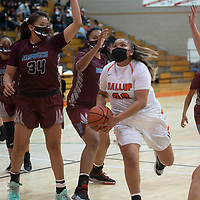 Gallup Bengal Hailey Long (40) drives to the basket during their varsity basketball game against the Shiprock Chieftains at Gallup High School in Gallup Friday.