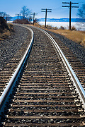 Railroad along shoreline of Upper Klamath Lake in southern Oregon