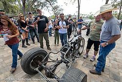 Freddie Bollwage got an award from Warren Lane at Warren's True Grit Antique Gathering bike show at the Broken Spoke Saloon in Ormond Beach during Daytona Beach Bike Week, FL. USA. Sunday, March 10, 2019. Photography ©2019 Michael Lichter.