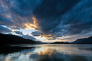 Late spring sunset at Harrison Lake, the Coast Range and Echo Island from Harrison Hot Springs, British Columbia, Canada