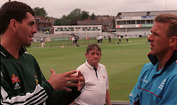 England Cricket Captain Alec Stewart (right) and South African Captain Hansie Cronje talk in front of the Headingley Wicket today (Tuesday) prior to Thursday's deciding fifth Test Match at Headingley. Photo John Giles.PA.