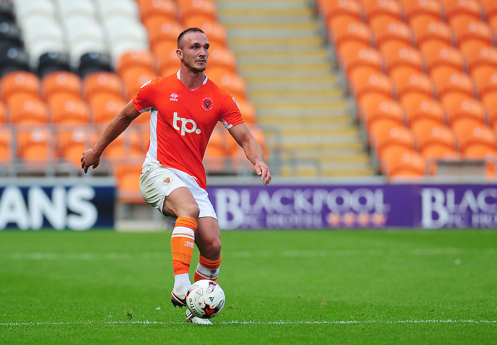 Blackpool's Tom Aldred<br /> <br /> Photographer Kevin Barnes/CameraSport<br /> <br /> Football - The EFL Sky Bet League Two - Blackpool v Exeter City - Saturday 6th August 2016 - Bloomfield Road - Blackpool<br /> <br /> World Copyright © 2016 CameraSport. All rights reserved. 43 Linden Ave. Countesthorpe. Leicester. England. LE8 5PG - Tel: +44 (0) 116 277 4147 - admin@camerasport.com - www.camerasport.com