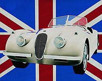 A 1954 Jaguar XK-120 is highly sought after by collectors of old cars because it invites them to tour the country. A Jaguar is always a symbol of class. This convertible certainly is! Here this Jaguar sports car is depicted in front of the British flag. On top of the British phlegm.<br />