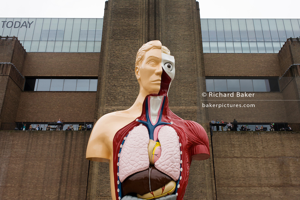 Damien Hirst's sculpture artwork entitled Hymn, on display outside Tate Modern on London's southbank.