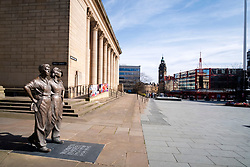 Barkers Pool outside Sheffield City Hall one of the areas of Sheffield left deserted after Venues and shops close in to try and stem tjhe spread of the Coronavirus<br /> Monday 22 March 2020<br /> <br /> www.pauldaviddrabble.co.uk<br /> All Images Copyright Paul David Drabble - <br /> All rights Reserved - <br /> Moral Rights Asserted -