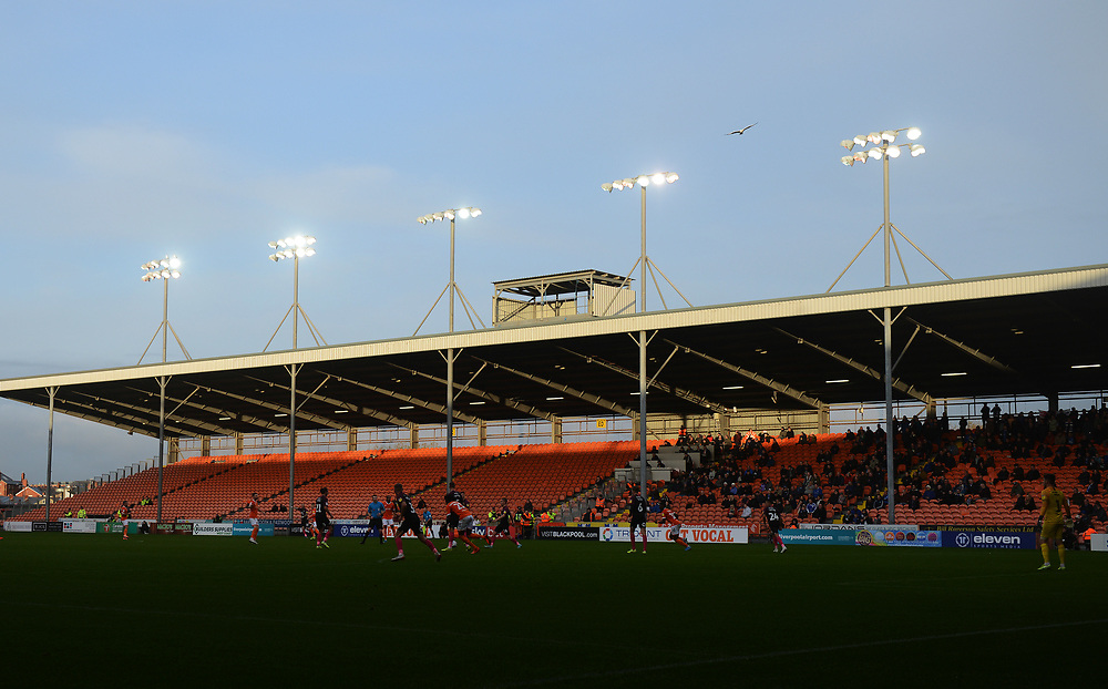 A general view of Bloomfield Road, home of Blackpool<br /> <br /> Photographer Kevin Barnes/CameraSport<br /> <br /> The EFL Sky Bet Championship - Blackpool v Peterborough United - Saturday 2nd November 2019 - Bloomfield Road - Blackpool<br /> <br /> World Copyright © 2019 CameraSport. All rights reserved. 43 Linden Ave. Countesthorpe. Leicester. England. LE8 5PG - Tel: +44 (0) 116 277 4147 - admin@camerasport.com - www.camerasport.com