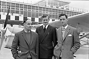 27/05/1962<br /> 05/27/1962<br /> 27 May 1962<br /> Mr Mark Downey at Dublin Airport. Picture shows Mr Jack Gough; Mr Denis Leonard  and Mr Mark Downey.