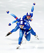Min Seok Kim, Jae Won Chung and Seung-Hoon Lee of Korea compete during the Men's Team Pursuit Speed Skating Quarter Finals on day nine of the PyeongChang 2018 Winter Olympic Games at Gangneung Oval on February 18, 2018 in Gangneung, South Korea.