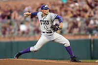 TCU's Jared Janczak (41) pitches to home against Texas A&M's during the 1st inning of a NCAA college baseball super regional tournament game, Friday, June 10, 2016, in College Station, Texas. (AP Photo/Sam Craft)