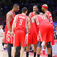 14 May 2015: Houston Rockets forward Terrence Jones (6), Houston Rockets guard Pablo Prigioni (9), Houston Rockets forward Trevor Ariza (1)m Houston Rockets center Dwight Howard (12) and Houston Rockets guard Corey Brewer (33) are seen during the Houston Rockets 119-107 victory over the Los Angeles Clippers, in game 6 of the Western Conference semifinals, at the Staples Center, Los Angeles, California, USA.