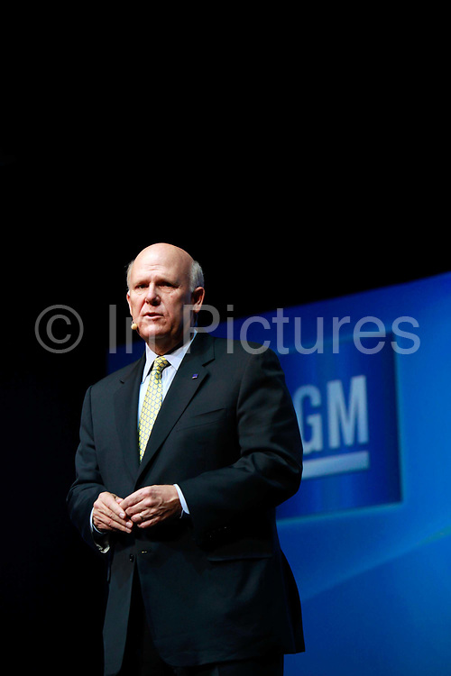 Dan Akerson, chief executive officer of General Motors Co. ( GM), pauses during a presentation in Shanghai, China, on Wednesday, Sept. 21, 2011. China's auto market will grow by 13 million units in 10 years, Akerson said at a briefing.