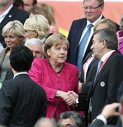17.07.2011, Commerzbankarena, Frankfurt, GER, FIFA Women Worldcup 2011, Finale,  Japan (JPN) vs. USA (USA), im Bild:  .Angela Merkel begruesst Wolfgang Niersbach.. // during the FIFA Women Worldcup 2011, final, Japan vs USA on 2011/07/11, FIFA Frauen-WM-Stadion Frankfurt, Frankfurt, Germany.   EXPA Pictures © 2011, PhotoCredit: EXPA/ nph/  Mueller       ****** out of GER / CRO  / BEL ******