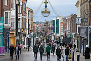 Shoppers enjoy a Saturday afternoon beneath newly installed Christmas decorations on 10 October 2020 in Windsor, United Kingdom. The Royal Borough of Windsor and Maidenhead has seen a significant rise in the COVID-19 infection rate over the past week, giving it the second-highest infection rate in South-East England outside London.