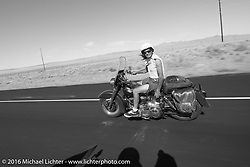 Non-MCR rider caught on the road during stage 12 (299 m) of the Motorcycle Cannonball Cross-Country Endurance Run, which on this day ran from Springville, UT to Elko, NV, USA. Wednesday, September 17, 2014.  Photography ©2014 Michael Lichter.