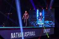 Nathan Aspinall during the Premier League Darts at Marshall Arena, Milton Keynes, United Kingdom on 5 April 2021.