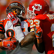 Kansas City Chiefs cornerback Patrick Surtain, right, gave Cincinnati Bengals wide receiver Chad Johnson a hand to the facemask on a third quarter recption on October 14, 2007 at Arrowhead Stadium in Kansas City, Mo.