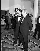President Reagan Visits Ireland..(formal dinner)..1984.04.06.1984.06.04.1984.4th June 1984..The Banquet for President and Mrs Reagan was held in Dublin Castle,Dame St,Dublin..Photo of The Taoiseach Mr Garret Fitzgerald and Tanaiste Mr Dick Spring as the await the arrival of President and Mrs Ronald Reagan in the foyer of Dublin Castle.