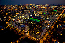 Night time aerial view of Texas Medical Center with Memorial Hermann in foreground.