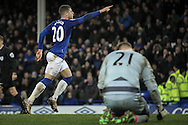 Ross Barkley (Everton) celebrates while Rob Elliot (Newcastle United) is on his knees during the Barclays Premier League match between Everton and Newcastle United at Goodison Park, Liverpool, England on 3 February 2016. Photo by Mark P Doherty.