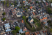 Nederland, Noord-Holland, Bergen, 28-04-2010; centrum van het dorp met Ruinekerk..Center of the village with Church Ruin. Kerkstraat en Plein (li)..luchtfoto (toeslag), aerial photo (additional fee required).foto/photo Siebe Swart