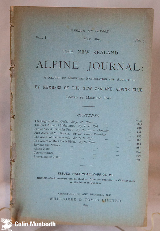 NEW ZEALAND ALPINE JOURNAL Vol I #5 May 1894 - original card covers, taken out of a strange binding hence rough on spine edge. Scarce $NZ75 (Bulk order discounts available)