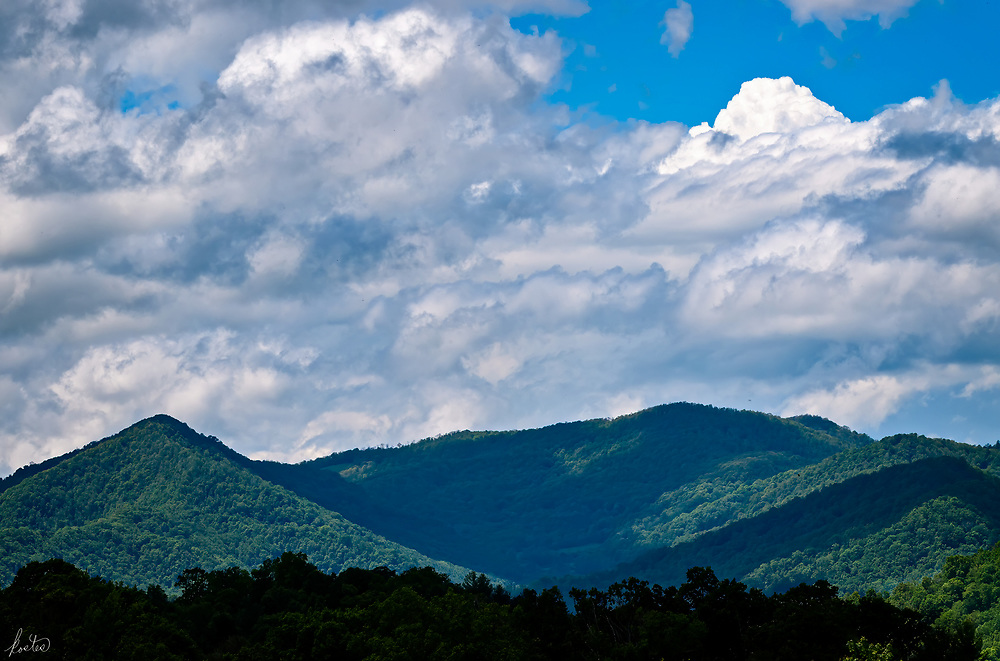 Cloud shadows on the hills of the Blue Ridge Mountains