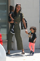 EXCLUSIVE: Zoe Saldana and Marco Perego take all three sons out in West Hollywood. 02 Jul 2017 Pictured: Zoe Saldana Marco Perego. Photo credit: MEGA TheMegaAgency.com +1 888 505 6342