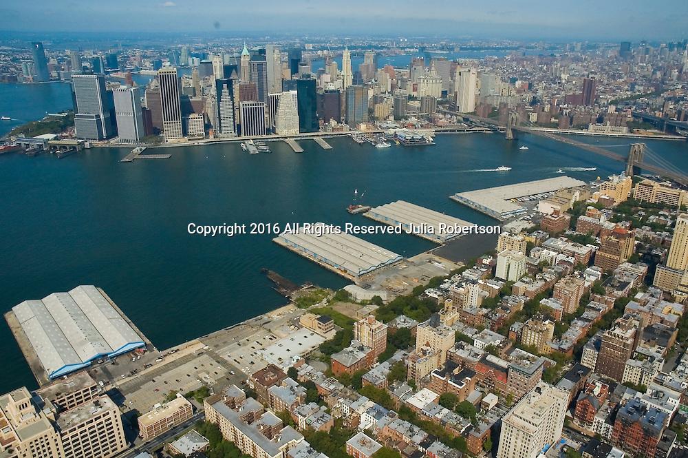Aerial views of Brooklyn waterfront, looking towards manhattan, as seen in 2009